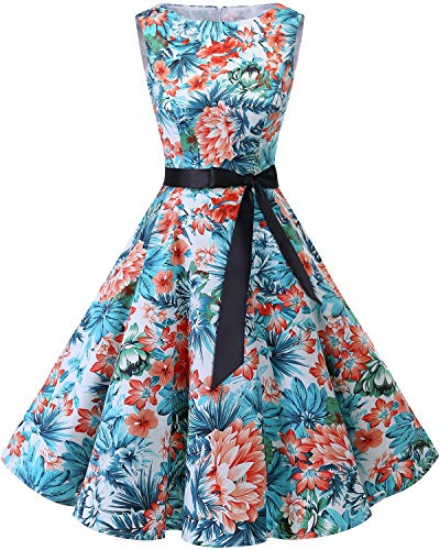 bbonlinedress 50s Retro Schwingen Vintage Rockabilly Kleid Faltenrock Blue Red Flower 3XL