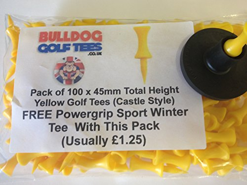 BUMPER PACK of BULLDOG GOLF TEES 100: 45mm MEDIUM YELLOW PLASTIC CASTLE TEES -
