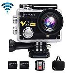 Action Cam JEEMAK WIFI Action Kamera 4K Camera mit 2.4G Fernbedienung 16MP Ultra Full HD Helmkamera wasserdicht mit 2 verbesserten Batterien Transporttasche und kostenlose Accessoires