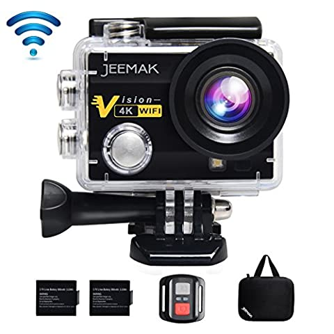 JEEMAK 4K Sports Action Camera 16MP WiFi Waterproof Camera with 2.4G Remote Control,170° Wide Angle, 2.0'' LCD Screen,2 Rechargeable Batteries and Portable
