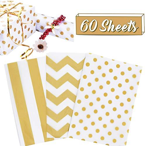 60 Blatt Geschenkpapier Seidenpapier mit Goldfolie Geschenkverpackungspapier für DIY Basteln Blumen Hochzeit Geburtstag Geschenk-Zubehör (71 x 50,8 cm)