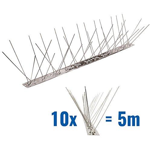 5 metros de Púas antipalomas V2A con base de Acero inoxidable flexible - 3-hileras de Púas antipalomas la solución de calidad para el control de aves