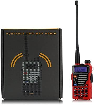 BaoFeng UV-5R Plus Qualette - Walkie-talkie de 2 vías (VHF / UHF, 136 - 174 / 400 - 520 MHz, 2 m / 70 cm, modelo de 2013), color rojo
