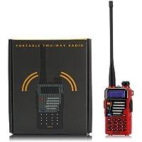 Baofeng UV-5R Plus Dualband VHF/UHF Handfunkgerät Amateurfunk LCD Display Walkie Talkie (Rot)