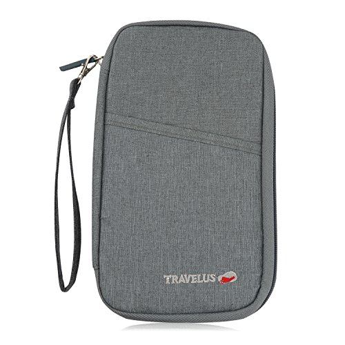 BlueBeach® Cartera de Viaje Documentos Pasaporte Portadocumentos de cuello Organizador de Viajes Pouch con bolsillos con Cremallera para Dinero / Móvil / Billetes / Tarjeta de Crédito