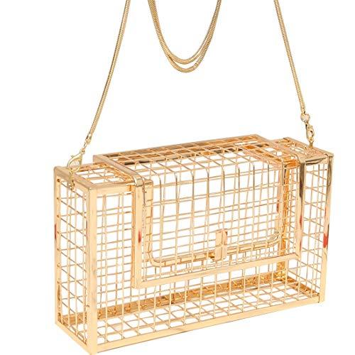 HYH Frauen Metall Hohl Umhängetasche Handtasche Eisen Mesh Kette Geschlungen Abendessen Abendtasche Kupplungen Taschen Schönes Leben (Farbe : Gold) - Gold-mesh-kupplung
