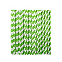 tecmac Eco-Friendly and Disposable White - Green Stripes Paper Straws | 6 mm | 100 Pieces