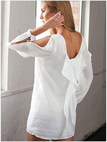kingfield à manches longues col rond unique se replie à Joker femmes robe Blanc - Blanc