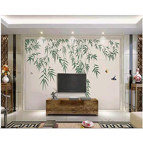 Rureng Kundengebundene Neue Bambusblumen Der Chinesischen Art Und Handgemalte Hintergrundtapete Des Vogeltintenbambus-450X300Cm