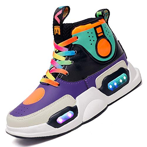Vansney Jungen Mädchen Kinder LED Licht Schuhe Laufen Skateboarding Sneakers Nachtwanderung Mit 7 Farben ändern Lichter Wiederaufladbare