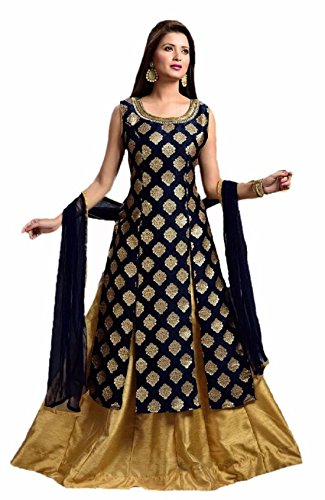 Riyan Enterprise Women's Latest Designer Party Wear Black Color Gown, Indo Western...