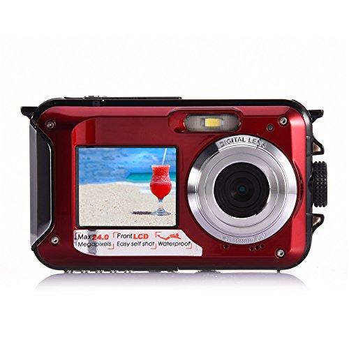 AMKOV Doppel Dual LCD Display Digital-Kamera Life Wasserdicht Selbstauslöser Video Pocket Mini Camcorder Recorder W599, Kinder, rot