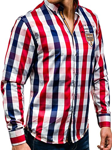 8633ad67d02c ... BOLF Herren Freizeithemd Herrenhemd Klassisch Kariert Hemd Slim Fit 2B2  Motiv Dunkelblau ...