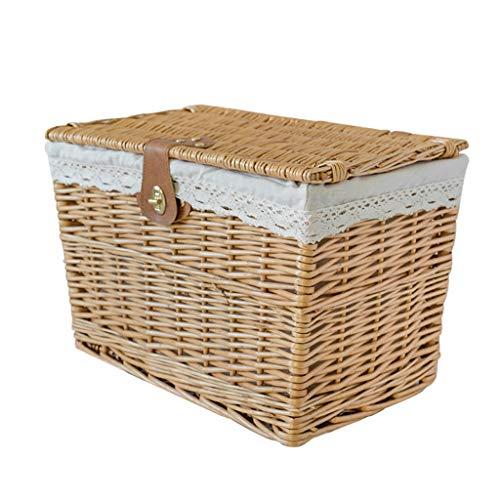 Unbekannt QIQIDEDIAN Aufbewahrungsbox Mit Abdeckung Rattan Kleidung Spielzeug Aufbewahrungsbox Startseite Hat EIN Schloss (Size : L)