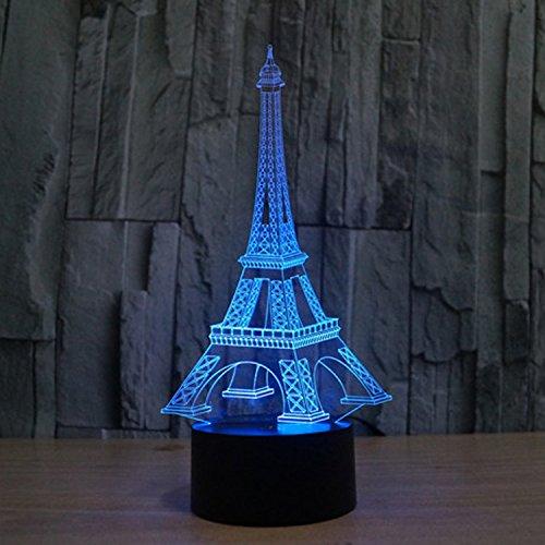 Lampe 3D ILLUSION Lichter der Nacht, kingcoo 7Farben LED Acryl Licht 3D Creative Berührungsschalter Stereo Visual Atmosphäre Schreibtischlampe Tisch-, Geschenk für Weihnachten, Kunststoff, tour Eiffel 0.50 wattsW - 2