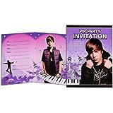 Ocho piezas Justin Bieber temáticas invitaciones de fiesta con sobres–6x 4,5x 0,7pulgadas; 3onzas