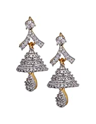Adorable Jhumka With An Anchor Shape Design At The Earlobe Studded With CZ Stones And A Tear Drop