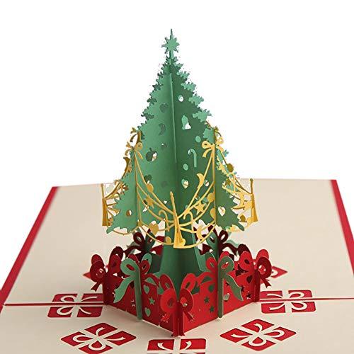 Newin Star 1 Stück Pop-Up-Weihnachtskarte 3D Grußkarten Weihnachtsbaum Karte mit Umschlag Weihnachtskarte für Frauen Männer Junge Kinder