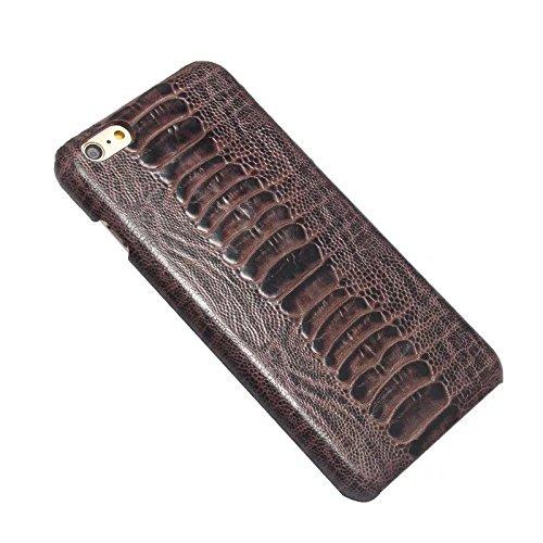 EKINHUI Case Cover Straußenfuß Muster Premium Echtleder Rücken Schutzhülle Case Leichtgewicht Thin Case für IPhone 6 Plus & 6s Plus ( Color : Gray ) Gray