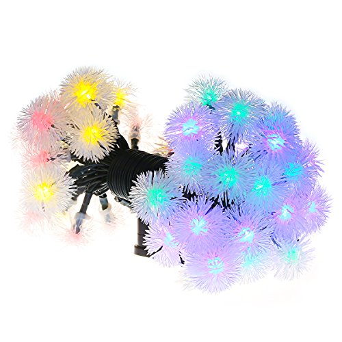 VicTsing Stringa di Luci Solari in Forma di Sfera, Stringa LED di Multicolore, 23 passi e 50 singoli LED, Decorativa da Interni e Esterni, per Decorazioni di Festa, Natale, Matrimonio, Decorativo per Giardino, Casa, Patio, Prato ecc