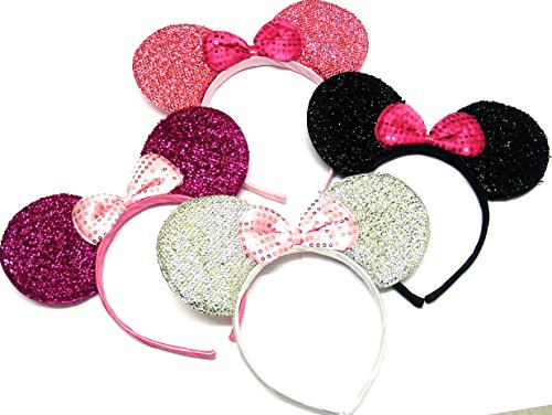 La Pfirsich Fashions Gorgeous Sparkly Set von vier Maus Ohr Alice Bands Fancy Kleid Head Band Hen Party Alice Band (Party Kleider Gorgeous)