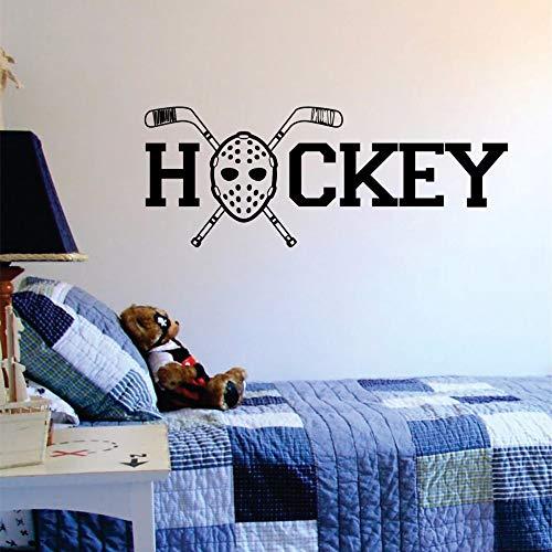 Wandaufkleber,Hockey Goalie Maske Und Sticks Zitat Aufkleber Wand Vinyl Aufkleber Kunst Sport Extreme Wandbild Poster Aufkleber Abziehbilder 42X106 Cm