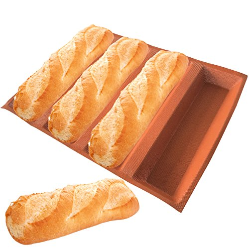 Silikon Brot Formen zum Backen mit einer länglichen Brot Pfanne Formen antihaftbeschichtet Backblech perforiert Silikon Tabelle Éclair Formen 4 Caves 12