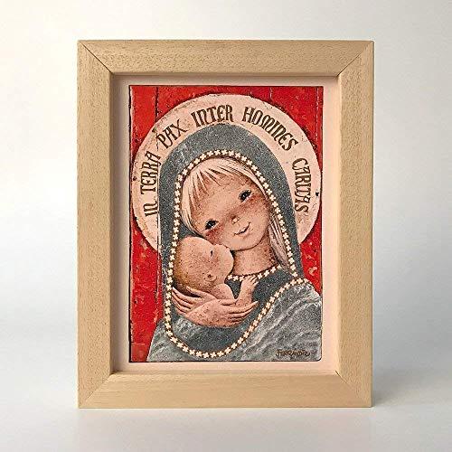 """Cuadrito""""Virgen Gótica Plateada"""", 15x20. Reproducción fine-art de la obra de Joan Ferrándiz. Regalo Comunión y Bautizo"""