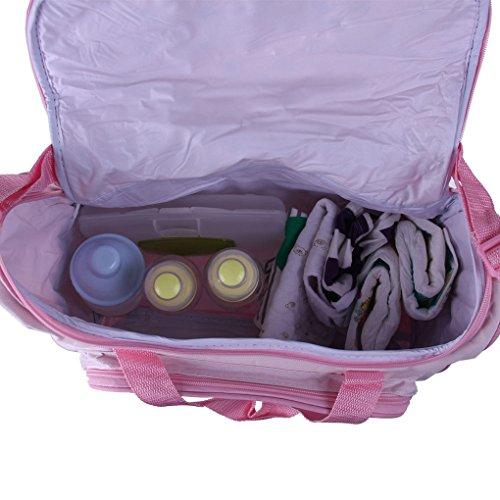 FakeFace Oxford Gewebe Cartoon 4er-Set Babytasche Wickeltasche Mutter Windeltasche Handtasche Schultertasche Flaschenhalter (Dunkelblau Wagen) Pink