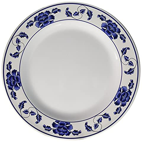 Thunder Group Wei Collection 12-Pack Plate, 14-1/8-Inch, Melamine, Brown