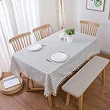 TWTIQ Tischdecke Aus Baumwolle Und Leinen Weiß Blau Kariert Tischdecke Pflegeleicht Antifouling Rechteckige Tischdekoration Dunkelblau Gitter 140 * 140