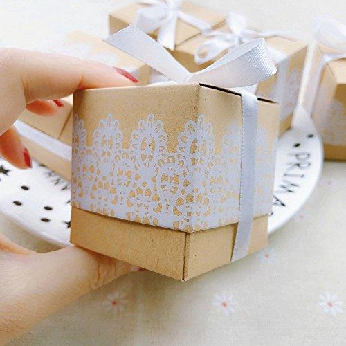 Geschenkbox aus Kraftpapier + Spitze - 6