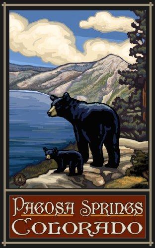 Northwest Art Mall Pagosa Springs Colorado Lake Bears LKB Wanddekoration, 28 x 43 cm - Lake-colorado Springs