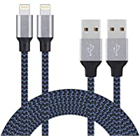 Cable iPhone Lightning Cable Chargeur Iphone - 2 Pack 3M Câble iPhone 7/7 plus /6/6s /6s Plus/6Plus/5/5C/5S/se/iPad/Pro/Air/mini Câble Lightning vers USB Chargeur en Nylon de connecteur robuste en aluminium(bleu foncé et noir)-COSKIP