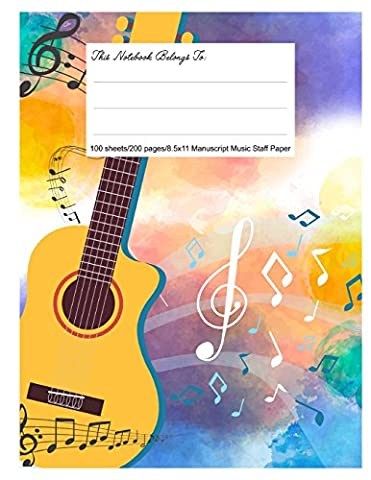 Staff Paper Blank Manuscript Musical Notebook, 12 Staves, 8.5.x 11, Wild Music