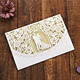 JinSu 20 Stück Laser Geschnittene Hochzeitsparty Einladungskarten mit Bedruckbaren Papier und Umschläge für Hochzeit Hochzeitstag Braut Brautdusche Party und mehr (Hauptsächlich für Hochzeiten)