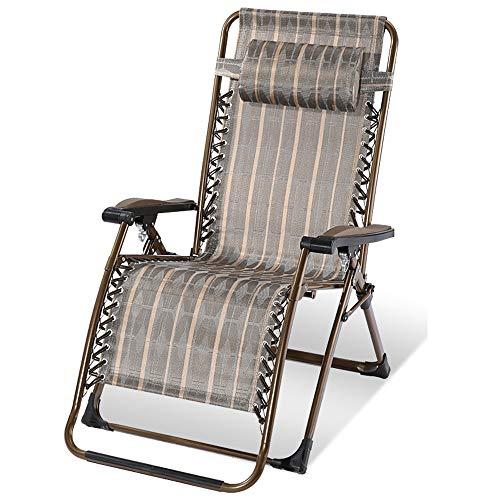 Extra Breite Verstellbare Sofa (Limited Edition Extra Dicker Stuhl Ruhender Stuhl Für Die Mittagspause Balkon Bequemes Nickerchen Am Strand Freizeitstuhl (Farbe: Goldstreifen Tragfähigkeit: 150 Kg))