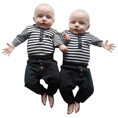 Neugeborene Walkoveral Hirolan 2Stk Kinder Baby Strampler Jungen Streifen T-Shirt Tops Schwarz Lange Hose Taste Set O-Ausschnitt Outfits Kleider (70cm, Schwarz) (Taste Eine Hosen-anzug)