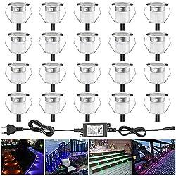 Lampe au Sol Spot Encastrable-Lumière réglable (RGB) DC12V 0.5W étanche IP67 Ø30mm-éclairage pour terrasse, patio, chemin, mur, jardin, décoration, intérieur et extérieur