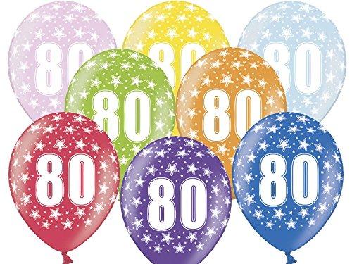 BUDILA® 10 Luftballons metallic zum 80. Geburtstag bunt gemischt ca. 110cm Umfang heliumgeeignet
