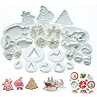 ilauke 25PCS Noël Décoration Emporte-Pièces Moules à Pâtisserie pour Décoration des Gateaux Biscuit Chocolate