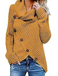 299bcd78d22 Aleumdr Jersey de Punto de Invierno Suéter de Cuello Alto Jerséis Casual para  Mujer Mujer Size