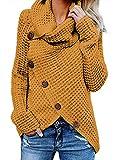 GOSOPIN Frauen Strickjacke Oversize V-Neck Sweatshirt Elastische Lässig Strickmantel Gelb M