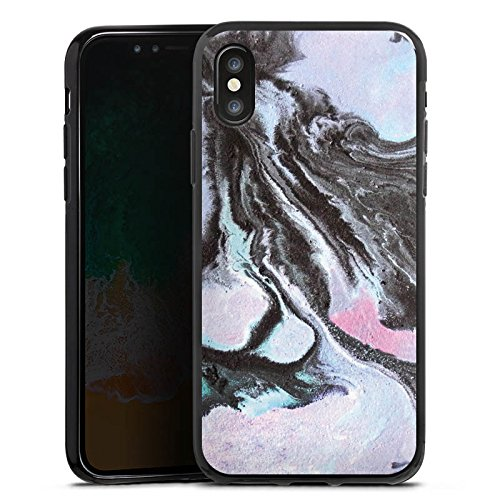 Apple iPhone 6 Silikon Hülle Case Schutzhülle Grunge Muster Perlmutt Silikon Case schwarz