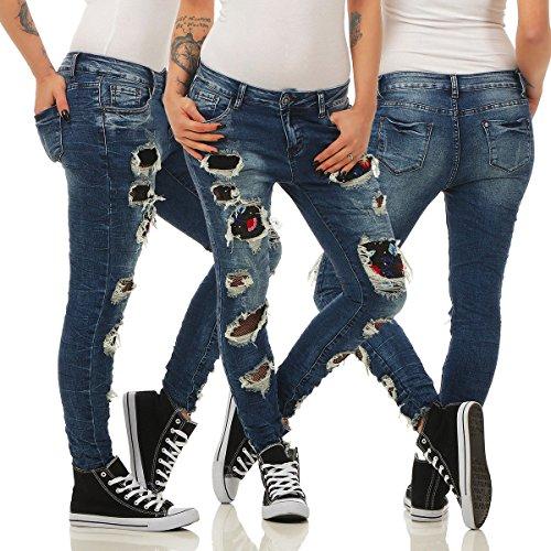 Fashion4Young - Jeans - Femme Turquoise turquoise M = 40 bleu foncé