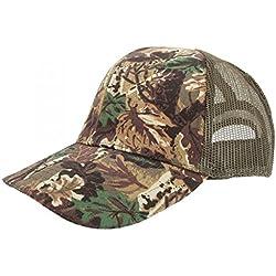Gorra de camuflaje con tejido transpirable Modelo Woodland Camouflage Unisex Hombre Mujer - Caza / Pesca (59 cm/Camuflaje)