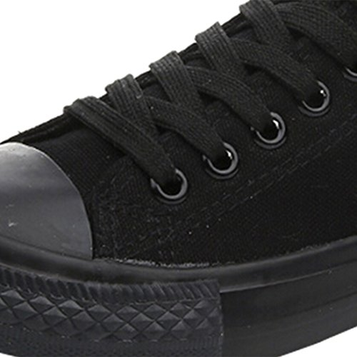 Oasap Women's Fashion Lace-up Canvas Sneakers Black