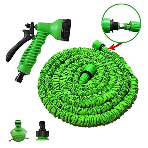 Viktion Flexischlauch Flexibler Wasserschlauch flexibel Gartenschlauch dehnbar 15M, 30M, 50M mit 7 Multifunktionsdüse (Grün-50FT)