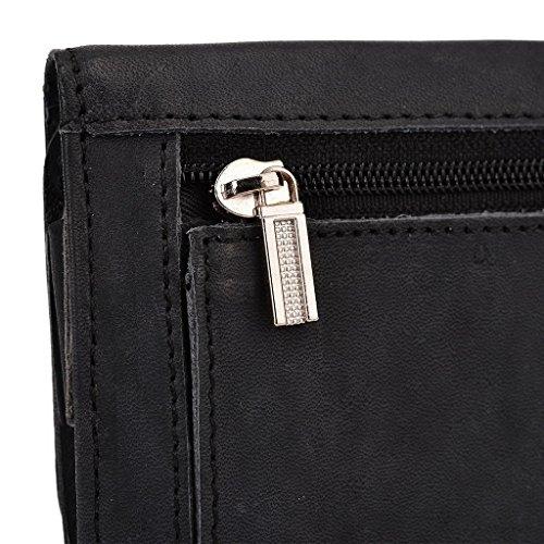 Kroo Pochette Housse Téléphone Portable en cuir véritable pour Samsung Galaxy A7 Violet - violet noir - noir