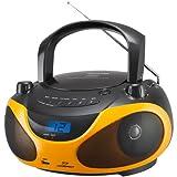 Sencor SPT 228 BO - Radio portatile con lettore CD e MP3 (ricevitore stereo AM/FM, display LCD, 2 x 15 Watt, USB), colore nero/arancione